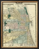 Map of Chicago City, c.1876 Framed Giclee Print by Warner &amp; Beers 