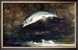 Jumping Trout Framed Giclee Print by Winslow Homer