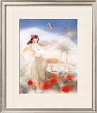 Hula Girl Framed Giclee Print by Yu Shirofani
