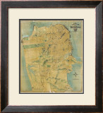 The Chevalier Map of San Francisco, c.1911 Framed Giclee Print by August Chevalier