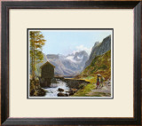 Dachstein and Lake Gosausee Print by Jakob Alt