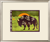 Woodblock Bison Poster by Benjamin Bay