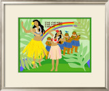 Hula Girls in Paradise Island, Hawaii Art by Noriko Sakura