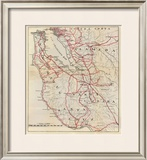 California: San Mateo, Santa Cruz, Santa Clara, Alameda, and Contra Costa Counties, c.1896 Framed Giclee Print by George W. Blum