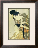 Woman Dressing Another's Hair Art by Utamaro Kitagawa