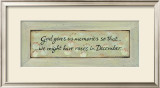 God Gives Us Memories Prints by Karen Tribett