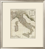 New Map of Italy with the Islands of Sicily, Sardinia and Corsica, c.1790 Framed Giclee Print by Thomas Kitchin