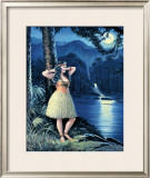 Romantic Hula Girl Framed Giclee Print