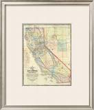 New Map of The State of California and Nevada Territory, c.1863 Framed Giclee Print by Leander Ransom