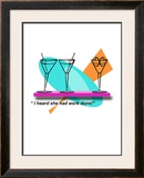 Two Martini Chat Framed Giclee Print by Bradly Bowden