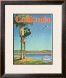 Santa Fe Railroad: California, Pacific Coastline and Spanish Mission Framed Giclee Print by Oscar M. Bryn