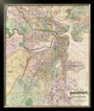 Map of the City of Boston and its Environs, c.1874 Framed Giclee Print by G. M. Hopkins