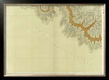 Grand Canyon: Geologic Map of the Southern Kaibab Plateau (Part III, South-West), c.1882 Framed Giclee Print by Clarence E. Dutton
