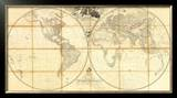 Map of the World, Researches of Capt. James Cook, c.1808 Framed Giclee Print by Aaron Arrowsmith