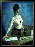 Pin-Up Girl: Quiet Please Librarian Framed Giclee Print by Richie Fahey