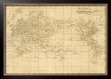 World Mercator's Projection, c.1812 Framed Giclee Print by Aaron Arrowsmith