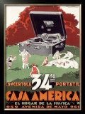 Portable Phonograph, Casa America Framed Giclee Print by Achille Luciano Mauzan