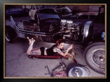 Pin-Up Girl: Street Rod Creeper Doll Framed Giclee Print by David Perry