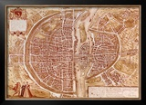 Map of Paris 1585 Poster by Georges Braun