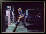 Pin-Up Girl: Gas Station Framed Giclee Print by David Perry