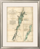 Survey of Lake Champlain, including Lake George, Crown Point and St. John, c.1776 Framed Giclee Print by Robert Sayer