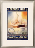 French Line, Plymouth to New York Framed Giclee Print by  Rodmell