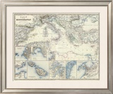 Mediterranean Basin, c.1861 Framed Giclee Print by Alexander Keith Johnston