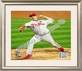 Cliff Lee Game 1 of the 2009 World Series Framed Photographic Print