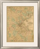 Map of Boston, c.1860 Framed Giclee Print by H. F. Walling