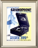 Victrola Portable Phonograph Framed Giclee Print