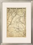 War Telegram Marking Map, c.1862 Framed Giclee Print by L. Prang