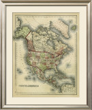 Antique Map of North America Prints by Alvin Johnson
