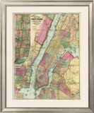 Map of New York and Adjacent Cities, c.1874 Framed Giclee Print by Gaylord Watson