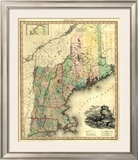 Maine, New Hampshire, Vermont, Massachusetts, Connecticut and Rhode Island, c.1823 Framed Giclee Print by Henry S. Tanner