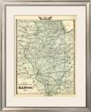 Official Railroad Map of the State of Illinois, c.1876 Framed Giclee Print by  Warner & Beers