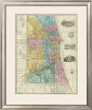 Guide Map of Chicago, c.1869 Framed Giclee Print by Rufus Blanchard