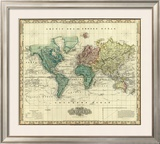 World on Mercators Projection, c.1823 Framed Giclee Print by Henry S. Tanner
