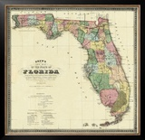 New Map of the State of Florida, c.1870 Framed Giclee Print by Columbus Drew