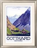 Gotthard, Schweiz Framed Giclee Print by Emil Cardinaux