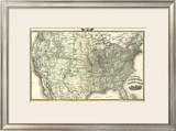 New Railroad Map of the United States and Dominion of Canada, c.1876 Framed Giclee Print by  Warner & Beers