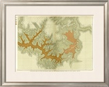 Grand Canyon: Geologic Map of the Southern Kaibab Plateau (Part IV, South-East), c.1882 Framed Giclee Print by Clarence E. Dutton