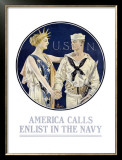 America Calls, Enlist in the Navy Framed Giclee Print by Joseph Christian Leyendecker