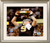 Drew Brees 2009 With NFC Championship Trophy Framed Photographic Print