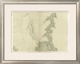 Grand Canyon: Geologic Map of the Southern Kaibab Plateau (Part II, North-East), c.1882 Framed Giclee Print by Clarence E. Dutton