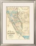 Map of the State of California, c.1853 Framed Giclee Print by John B. Trask