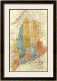 Map of Maine, c.1843 Framed Giclee Print by W. Anson