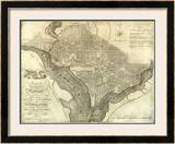 Plan of the City of Washington, c.1795 Framed Giclee Print by John Reid