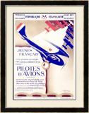 Pilotes d'Avions Framed Giclee Print by  Chassaing