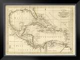 Chart of the West Indies, c.1811 Framed Giclee Print by Mathew Carey