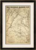 War Telegram Marking Map, c.1862 Framed Giclee Print by L. Prang